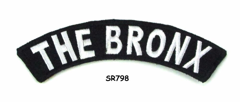 The Bronx White on Black Small Rocker Iron on Patches for Biker Vest Jacket