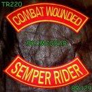 COMBAT WOUNDED SEMPER RIDER Back Military Patches Set for Biker Vest Jacket