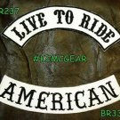 LIVE TO RIDE AMERICAN Black on White Back Military Patches Set Biker Vest
