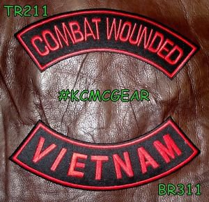 COMBAT WOUNDED VIETNAM Red on Black Back Military Patches Set for Biker Vest