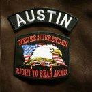 AUSTIN and NEVER SURRENDER Small Badge Patches Set for Biker Vest Jacket