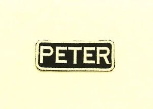 PETER White on Black Iron on Name TAG Patch for Biker Vest Jacket NB244