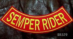"SEMPER RIDER Back Patch Bottom Rocker for Biker Veteran Vest Jacket 10"""