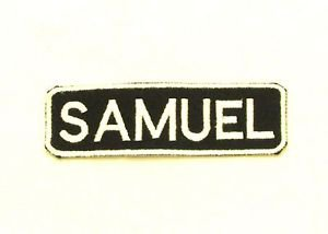 SAMUEL White on Black Iron on Name TAG Patch for Biker Vest Jacket NB253