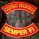 COMBAT WOUNDED SEMPER FI Back Military Patches Set for Biker Vest Jacket