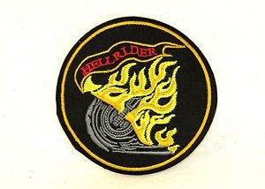 Hell Rider Yellow Red and Gray on Black Small Badge Biker Vest Jacket Patch