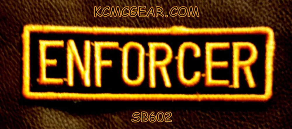 ENFORCER Orange on Black Small Badge for Biker Vest jacket Motorcycle Patch