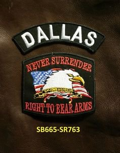 DALLAS and NEVER SURRENDER Small Badge Patches Set for Biker Vest Jacket