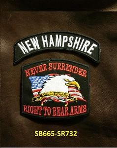 NEW HEMPSHIRE and NEVER SURRENDER Small Badge Patches Set for Biker Vest Jacket