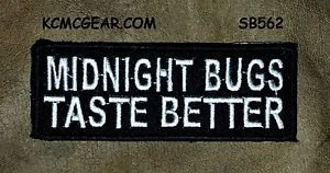 MIDNIGHT BUGS White on Black Small Badge for Biker Vest Jacket Motorcycle Patch