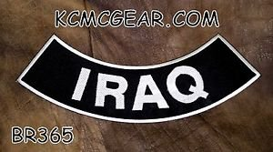 IRAQ White on Black  Back Patch Bottom Rocker for Biker Veteran Vest Jacket 10""