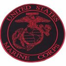 U.S Marine Crops Red on Black Center Patch Iron on for Biker Vest and Jacket