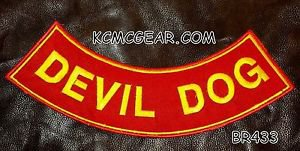 "DEVIL DOG Yellow on Red Patch Bottom Rocker for Biker Veteran Vest Jacket 10"""