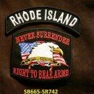 RHODE ISLAND and NEVER SURRENDER Small Badge Patches Set for Biker Vest Jacket