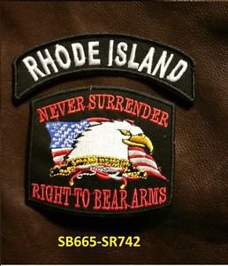 RHODE ISLAND and NEVER SURRENDER Small Badge Patches Set for Biker Vest Jacket