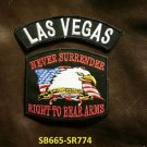 LAS VEGAS  and NEVER SURRENDER Small Badge Patches Set for Biker Vest Jacket