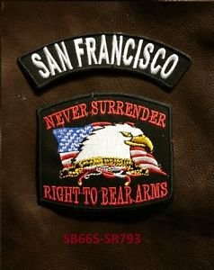 SAN FRANCISCO  and NEVER SURRENDER Small Badge Patches Set for Biker Vest Jacket