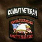 COMBAT VETERAN and NEVER SURRENDER Small Badge Patches Set for Biker Vest Jacket