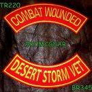 COMBAT WOUNDED DESERT STORM VET Back Military Patches Set for Biker Vest Jacket