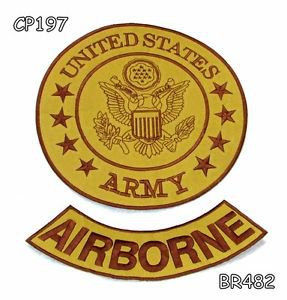 US ARMY AIRBORNE Brown on Gold Iron on 2 Patches Set for Biker Jacket