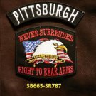 PITTSBURGH and NEVER SURRENDER Small Badge Patches Set for Biker Vest Jacket