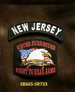 NEW JERSEY and NEVER SURRENDER Small Badge Patches Set for Biker Vest Jacket