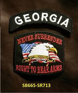 GEORGIA and NEVER SURRENDER Small Badge Patches Set for Biker Vest Jacket