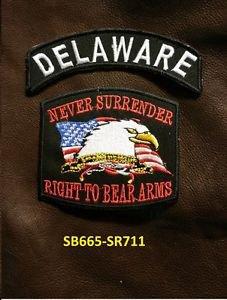 DELAWARE and NEVER SURRENDER Small Badge Patches Set for Biker Vest Jacket