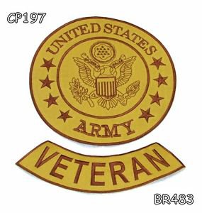 US ARMY VETERAN Brown on Gold Iron on 2 Patches Set for Biker Jacket