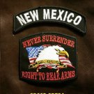NEW MEXICO  and NEVER SURRENDER Small Badge Patches Set for Biker Vest Jacket