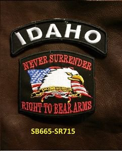 IDAHO and NEVER SURRENDER Small Badge Patches Set for Biker Vest Jacket