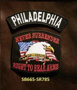 PHILADELPHIA and NEVER SURRENDER Small Badge Patches Set for Biker Vest Jacket