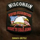 WISCONSIN and NEVER SURRENDER Small Badge Patches Set for Biker Vest Jacket