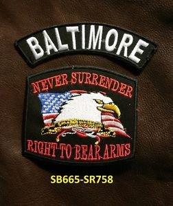 BALTOMORE and NEVER SURRENDER Small Badge Patches Set for Biker Vest Jacket