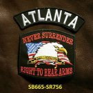 ATLANTA and NEVER SURRENDER Small Badge Patches Set for Biker Vest Jacket