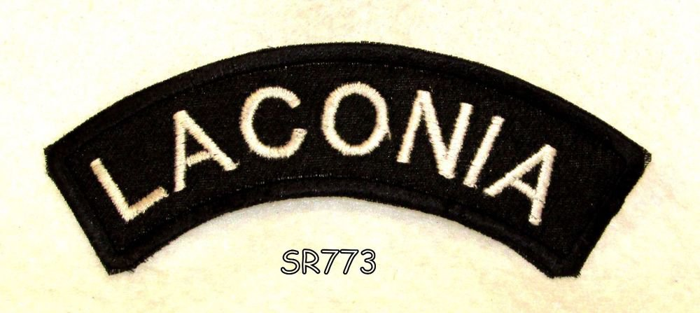 Laconia White on Black Small Rocker Iron on Patches for Biker Vest Jacket