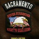 SACRAMENTO and NEVER SURRENDER Small Badge Patches Set for Biker Vest Jacket