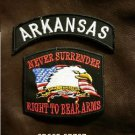 ARKANSAS and NEVER SURRENDER Small Badge Patches Set for Biker Vest Jacket