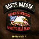 NORTH DAKOTA and NEVER SURRENDER Small Badge Patches Set for Biker Vest Jacket