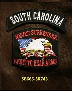 SOUTH CAROLINA and NEVER SURRENDER Small Badge Patches Set for Biker Vest Jacket