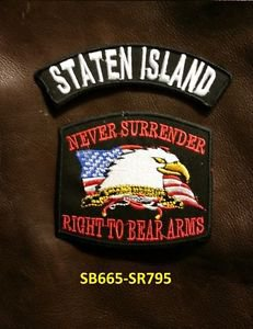 STATEN ISLAND and NEVER SURRENDER Small Badge Patches Set for Biker Vest Jacket