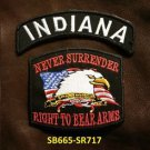 INDIANA and NEVER SURRENDER Small Badge Patches Set for Biker Vest Jacket
