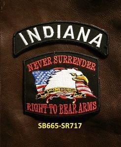 INDIANA and NEVER SURRENDER Small Badge Patches Set for Biker Vest Jacket