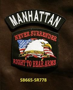 MANHATTAN and NEVER SURRENDER Small Badge Patches Set for Biker Vest Jacket