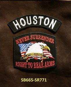 HOUSTON and NEVER SURRENDER Small Badge Patches Set for Biker Vest Jacket