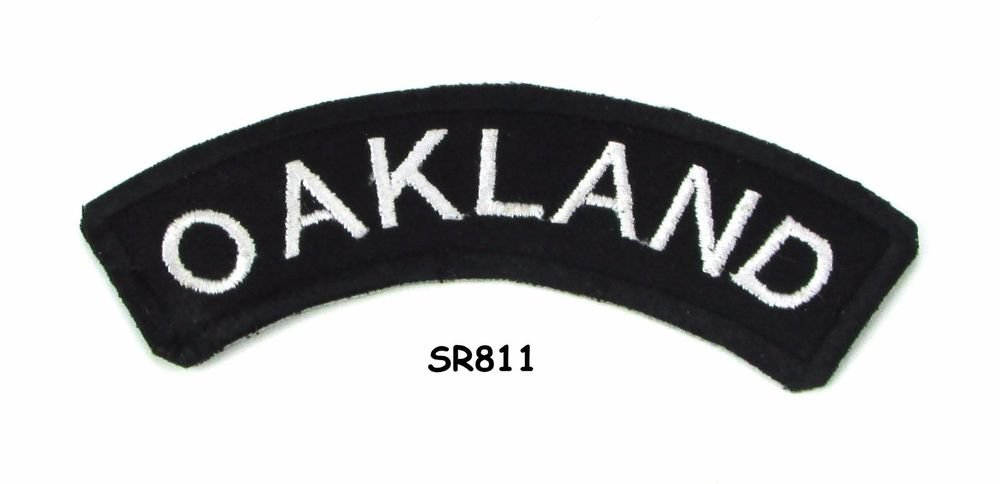Oakland White on Black Small Rocker Iron on Patches for Biker Vest Jacket