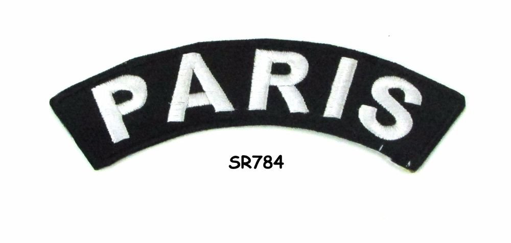 Paris White on Black Small Rocker Iron on Patches for Biker Vest Jacket