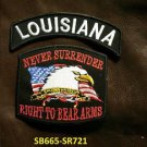 LOUISIANA and NEVER SURRENDER Small Badge Patches Set for Biker Vest Jacket