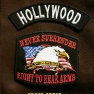 HOLLYWOOD and NEVER SURRENDER Small Badge Patches Set for Biker Vest Jacket