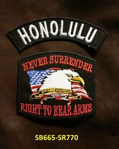 HONOLULU and NEVER SURRENDER Small Badge Patches Set for Biker Vest Jacket